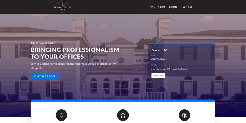 Screenshot of 184 Pleasant Valley Website